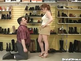 Redhead humiliates store owner