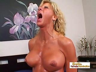 Muscular blonde slut gets..