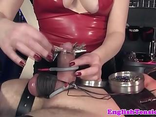Mistress clamping pathetic sub