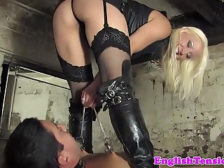 Mistress clamps sub before..