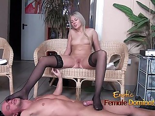 Stockinged footjob from a..
