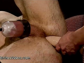 Bound guy fucked by babe..