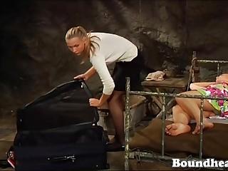 Mistress unpacks her freshly..