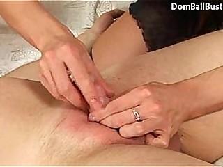 Ballbusting FFM threesome