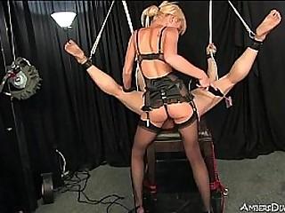 Petite blonde Mistress uses..