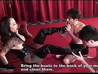 Two slaves lick the mistress..