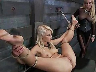 BDSM blonde tied up and fucked
