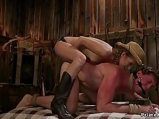 Sexy brunette rancher anal..