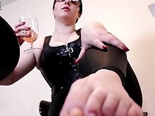 Femdom POV Drunk Foot Worship