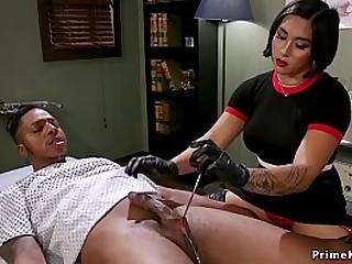 Busty brunette Asian doctor..