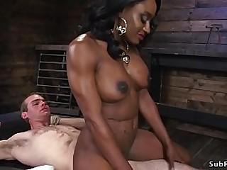 Huge fake tits ebony dom..