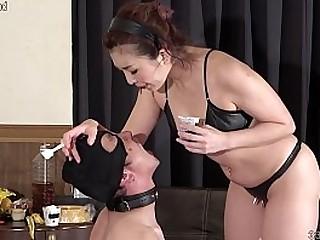 Japanese femdom feeding anal..