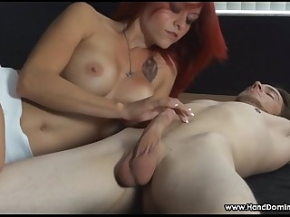 redhead teases cock during..