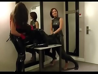 Femdom Latex Strapon by Two..