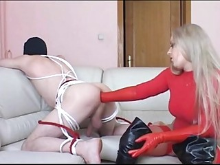 Red Latex Gloves Ass Deep..